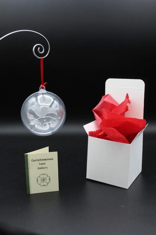 Carrickmacross Lace Dove Christmas Bauble