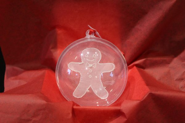 Carrickmacross Lace Gingerbread Man Christmas Bauble