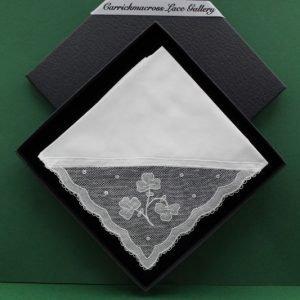 Carrickmacross Lace Handkerchief Shamrocks