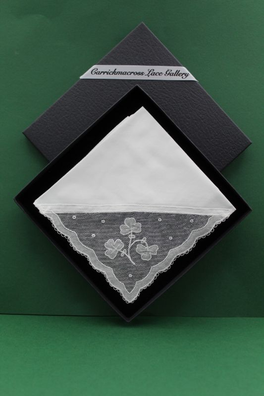 Carrickmacross Lace Handkerchief Shamrocks