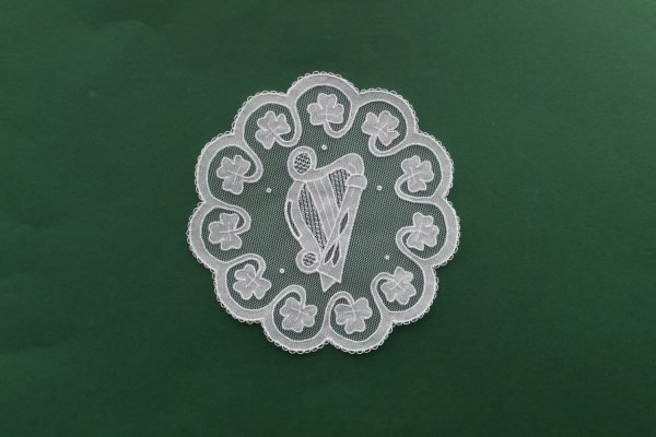 Carrickmacross Lace Harp with Shamrock Edge