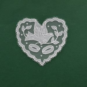 Carrickmacross Lace Heart with Dove & Rings