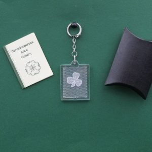 Carrickmacross Lace Keyring Square Shamrock