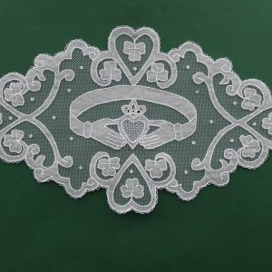 Carrickmacross Lace Oval Claddagh