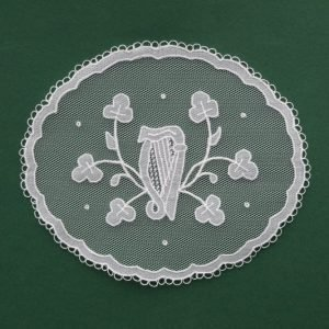 Carrickmacross Lace Shamrocks & Harp