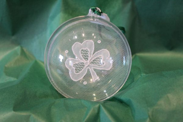 Carrickmacross Lace Single Shamrock Christmas Bauble