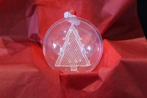 Carrickmacross Lace Three Shamrock Christmas Bauble