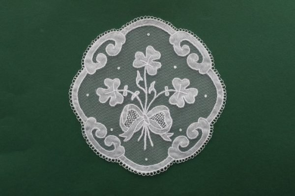 Carrickmacross Lace Bow & Shamrocks