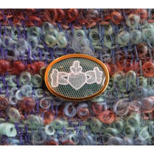 Carrickmacross Lace Brooch Claddagh