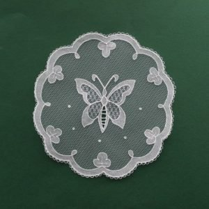 Carrickmacross Lace Butterfly Shamrock Edge