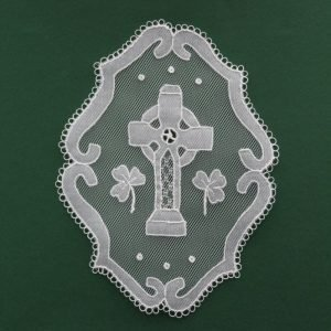 Carrickmacross Lace Celtic Cross Oval