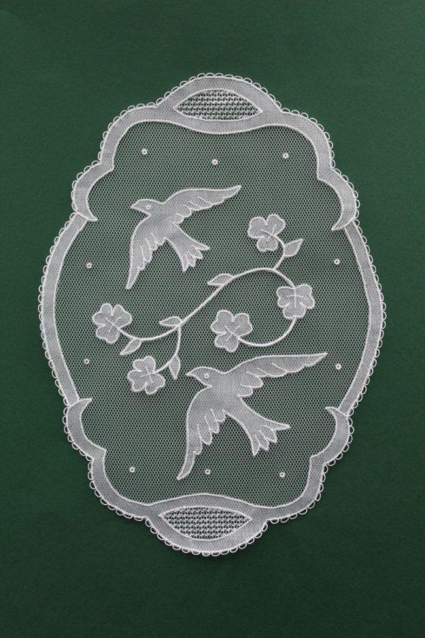 Carrickmacross Lace Oval Birds