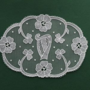 Carrickmacross Lace Oval Harp & Flowers