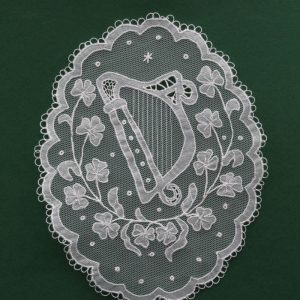 Carrickmacross Lace Oval Harp & Shamrocks
